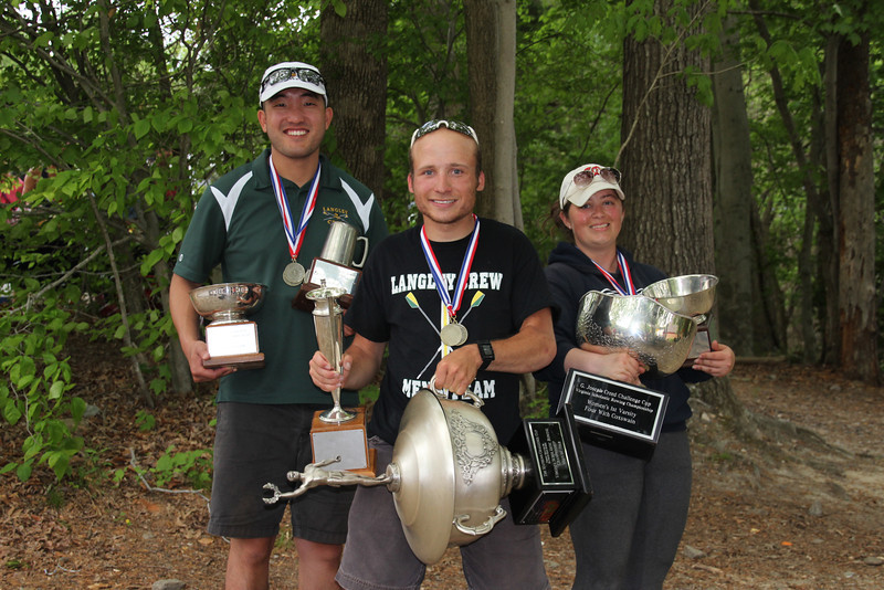 Langley Rowing Coaches with the Six State Championship Trophies